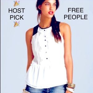 💯✅ AUTHENTIC FREE PEOPLE FAUX LEATHER RUFFLE TOP